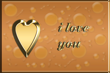 brown love card with golden heart illustration - valentines day card Stock Photo