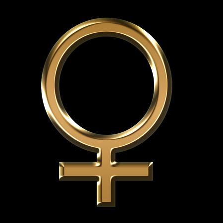 gold female symbol illustration on black background - 3D illustration
