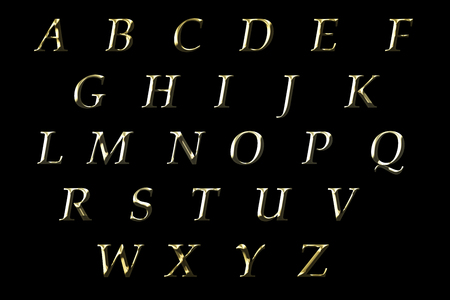 gold english alphabet illustration on black background