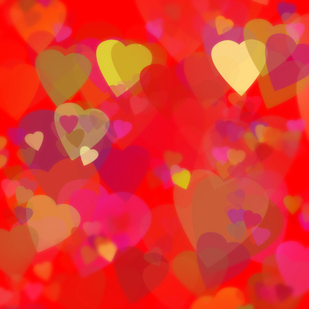valentines day theme - love card - red background with golden hearts illustration