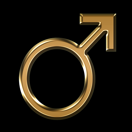 gold male symbol illustration on black background - 3D illustration