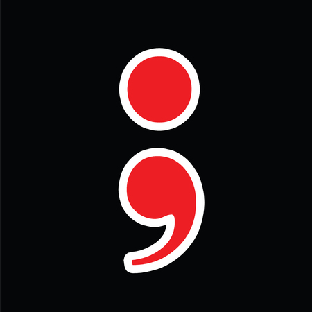 red semicolon vector - greek question mark symbol - black background Illustration