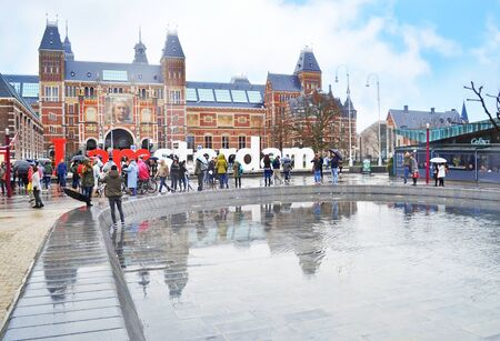AMSTERDAM HOLLAND, MARCH 29 2015: I amsterdam slogan in front of the Rijks museum - Amsterdam city Holland. Editorial use.
