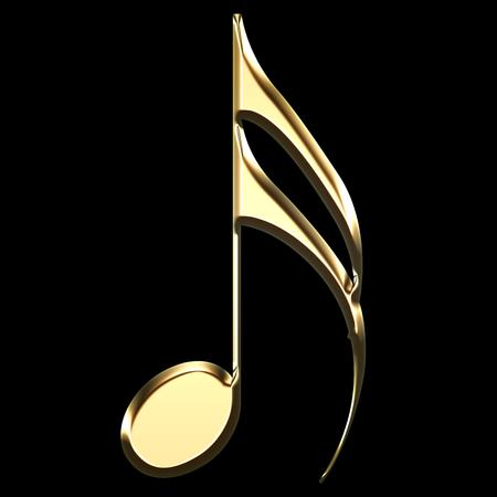 illustrazione di nota musicale dorata su sfondo nero