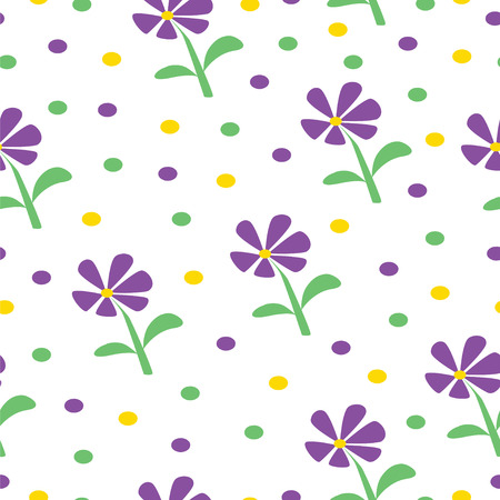 seamless pattern with purple daisy flowers - floral fabric pattern vector