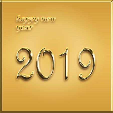 happy new year card - 2019 year - golden card illustration Stock Illustration - 104677611