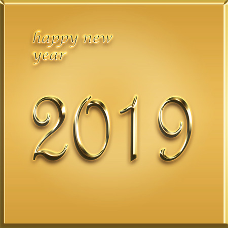 happy new year card - 2019 year - golden card illustration Stock Photo