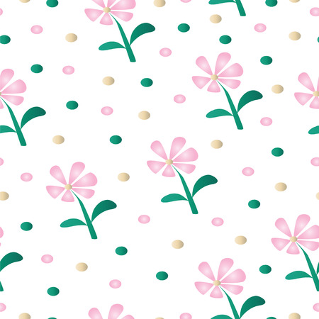 seamless pattern with pink daisy flowers - floral fabric pattern vector Иллюстрация