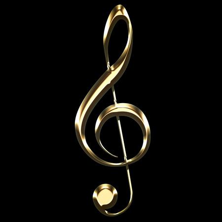 golden treble clef sign on black background - key sol - music symbol illustration Banque d'images