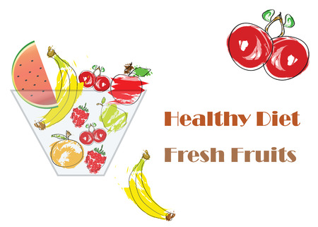 bowl with fresh fruits vector - healthy diet concept - isolated on white background