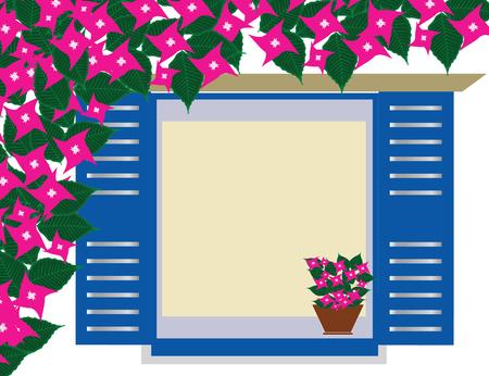 traditional greek blue window with bougainvillea flowers - Cyclades Greece Illustration