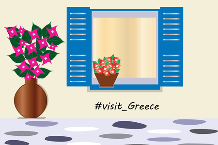 visit greece logo - traditional greek blue window with bougainvillea flowers vector - Cyclades Greece