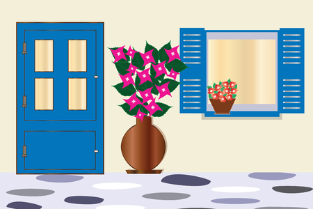 blue door and window with bougainvillea flower - traditional greek houses architecture