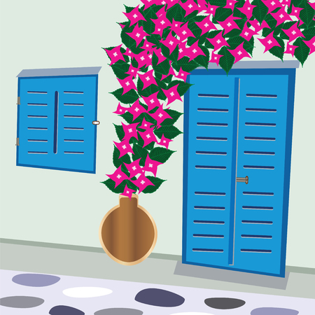 traditional greek door and window with bougainvillea flowers vector - Cyclades Greece Çizim