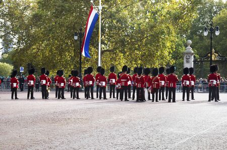 LONDON UNITED KINGDOM, OCTOBER 23 2018: the guards of the Buckingham Palace during the traditional Changing of the Guard ceremony London United Kingdom. Editorial use. Redakční