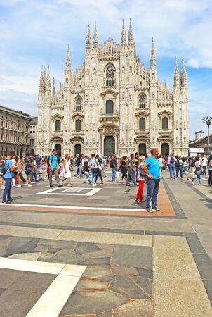 MILAN ITALY, MAY 31 2018: piazza Duomo Milan city - the cathedral square of Milan Italy. Editorial use.