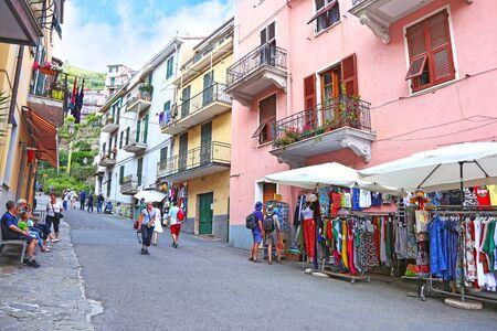 MANAROLA CINQUE TERRE ITALY, JUNE 01 2018: outdoors scene of the traditional Manarola village Cinque Terre - La Spezia Italy. Editorial use.