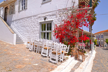 traditional road at Hydra island Saronic Gulf Greece - famous greek summer destination