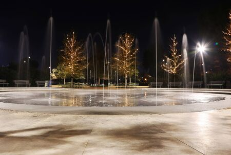 ATHENS GREECE, DECEMBER 07 2018: night Christmas scene and fountain at Stavros Niarchos foundation cultural center of Athens Greece. Editorial use.