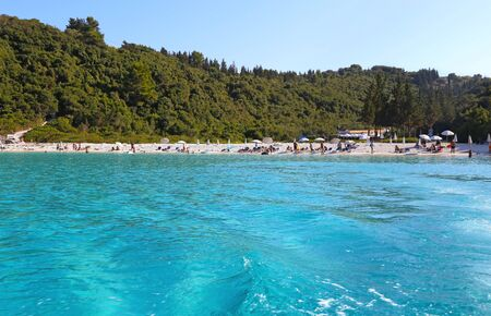 ANTIPAXOS GREECE, AUGUST 30 2017: landscape of Vrika beach at Antipaxos Ionian islands Greece. Editorial use.