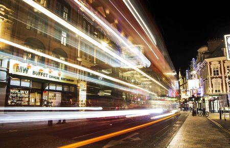 LONDON UNITED KINDOM, OCTOBER 25 2018: long exposure photography of night London city United Kingdom. Editorial use.
