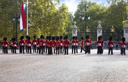LONDON UNITED KINGDOM, OCTOBER 23 2018: the guards of the Buckingham Palace during the traditional Changing of the Guard ceremony London United Kingdom. Editorial use.