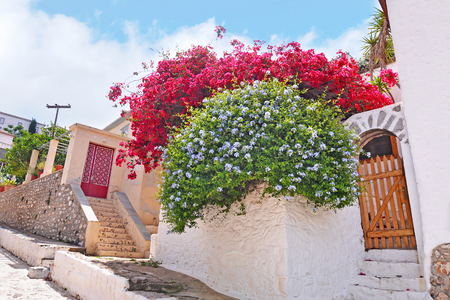 traditional houses at Hydra island Saronic Gulf Greece - famous greek summer destination Stock Photo - 120189840