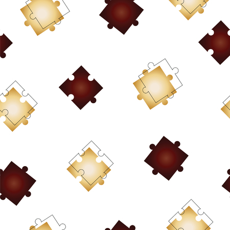 seamless pattern with puzzle jigsaw pieces vector in beige and dark red colors Vettoriali