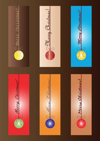 ensemble de six signets de Noël en vecteur de couleurs multiples - voeux de joyeux Noël - thème festif