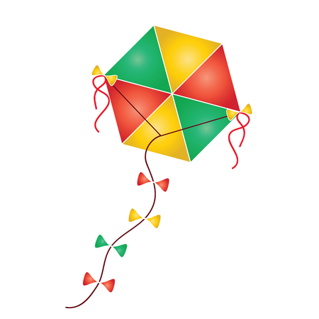 colorful kite vector illustration - traditional greek Clean Monday kite isolated on white background