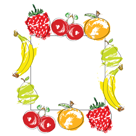 hand drawn fruits vector on white border - healthy diet concept - isolated on white background