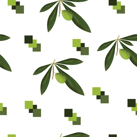 seamless pattern with olive tree vector and green squares
