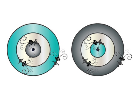 set of two artistic evil eyes in grey and turquoise colors isolated on white background Banque d'images - 120189538