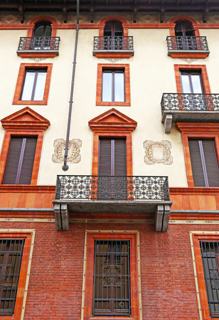 traditional buildings at Milan city Italy - italian architecture Stock Photo