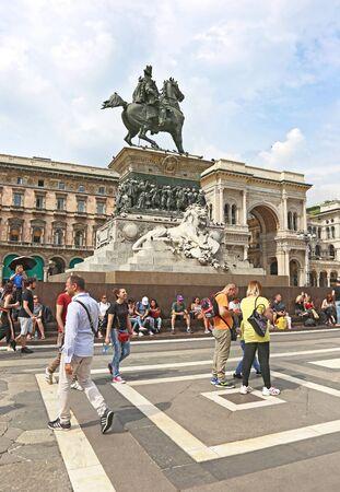 MILAN ITALY, MAY 31 2018: the monument of King Victor Emmanuel II at piazza del Duomo Milan Italy. Editorial use. Editorial