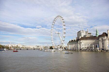 LONDON UNITED KINGDOM, OCTOBER 23 2018: landscape of Thames river and the giant ferris wheel London Eye in London city United Kingdom. Editorial use. Editorial
