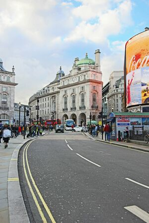 LONDON UNITED KINGDOM, OCTOBER 27 2018: street photography of the famous Piccadilly Circus road in London city United Kingdom. Editorial use.