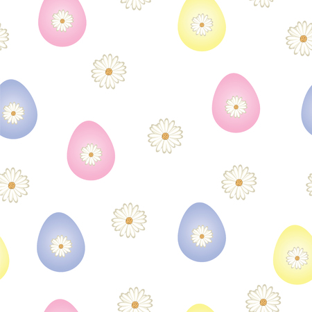 seamless pattern with Easter eggs in pastel colors and daisy flowers vector