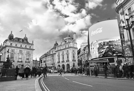 LONDON UNITED KINGDOM, OCTOBER 27 2018: black and white photo of Piccadilly Circus road in London city United Kingdom. Editorial use.