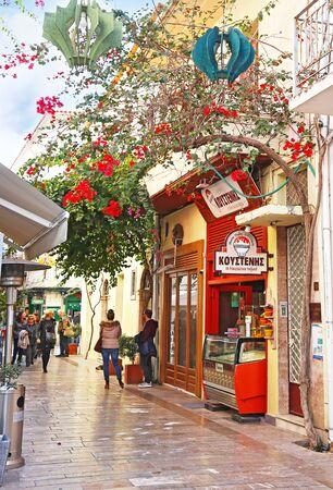 NAFPLIO GREECE, NOVEMBER 18 2018: raditional pedestrian street at Nafplio Argolis Greece. Editorial use.