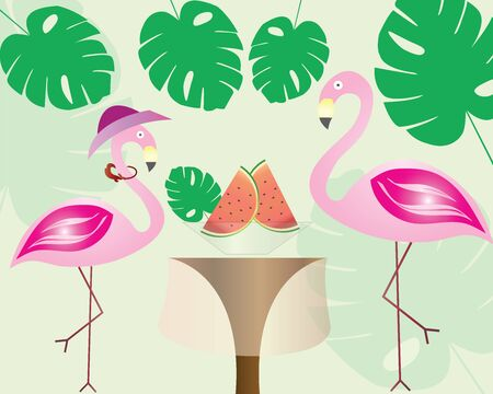 flamingo couples eating watermelon - exotic tropical leaves - summer theme vector illustration