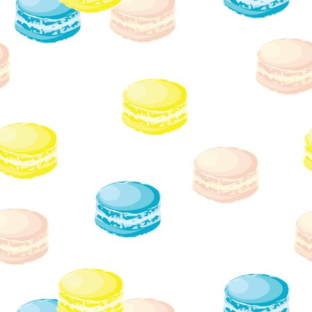 seamless pattern with colorful macaroons vector - white background