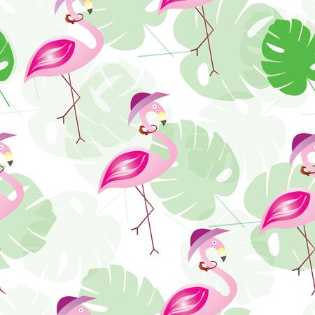 seamless pattern with flamingos and tropical leaves - summer theme Иллюстрация