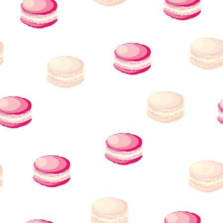 seamless pattern with pink macaroons vector - pastel colors theme - white background