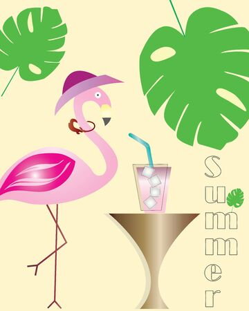 summer  - flamingo cartoon - exotic tropical leaves and cocktail - yellow background Иллюстрация