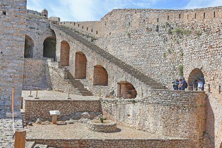 NAFPLIO GREECE, MAY 10 2019: Palamidi castle in Nafplio Argolis Greece. Editorial use. Editorial