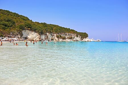 ANTIPAXOS GREECE, AUGUST 30 2017: scenery of Voutoumi beach in Antipaxos island Greece.