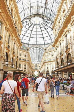 MILAN ITALY, MAY 31 2018: inside the Vittorio Emanuele II gallery at Milan city Italy - the most famous european destination with fashionable shops. Editorial use.