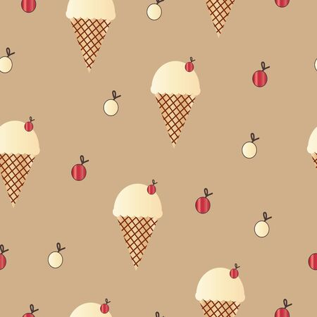 seamless pattern with ice cream cone and cherries vector on brown background