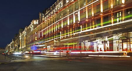 LONDON UNITED KINDOM, OCTOBER 25 2018: night scene of London city United Kingdom - moving cars - long exposure. Editorial use.